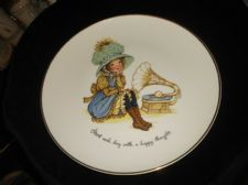 COLLECTABLE GILDED RIM LARGE DISPLAY PLATE PETTICOATS PANTALOONS HAPPY THOUGHT
